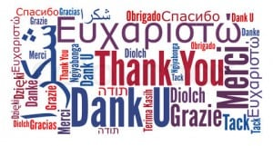 Thank you phrase in different languages. Word clouds concept.